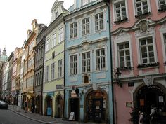 beautiful pastel houses in Prague ~ reminds me of downtown Disney