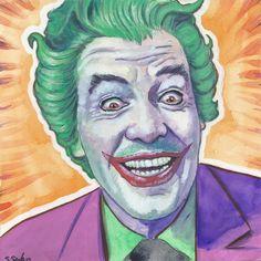 Cesar Romero as The Joker Done on 6x6 inch Aquabord with Winsor & Newton Gouache Paints