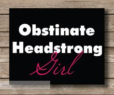 Jane Austen Headstrong Girl Typography Art by JaneAndCompanyDesign, $17.00