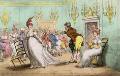 The only acceptable excuse in refusing a dance was when a lady had already promised the next set to another, or if she had grown tired and was sitting out the dance. Elizabeth could offer neither excuses at the start of the ball, and thus was forced to partner with Mr. Collins. [img: A Broad Hint of Not Meaning to Dance, Gillray, 1804]