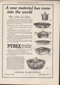 1916 Pyrex Glass Dish Corning Ad