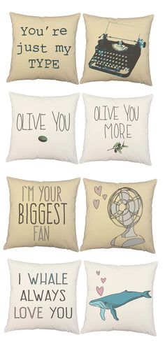 Love inspired throw pillows, romantic puns, valentines gifts, fun, humorous home decor.
