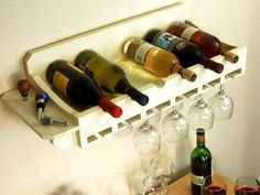 Wine rack for bottles and glasses  from Budget Kitchen Ideas #diynetwork