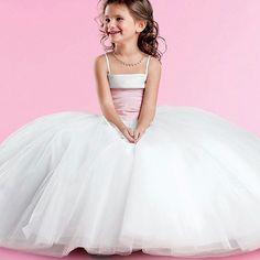 79.00$  Buy here - http://aliq16.worldwells.pw/go.php?t=32505322169 - White Princess Formal Dress Spaghetti Straps Square Taffeta Satin Tulle Flower Girls Wedding Dress Pleat Pageant Ball Gowns 2016 79.00$