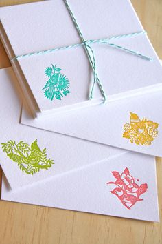 Letterpress spring Japanese paper cut birds notecards with envelopes x4 made in Australia. yellow, turquoise, green, pink - $11.90 + $2.98