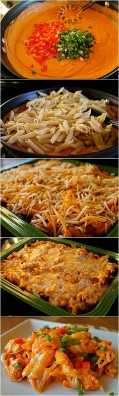 Cheesy Chicken Enchilada Pasta Recipe. This Pasta Came Out PERFECT.. First I Prepared The Pasta, Then Threw It In A Casserole Dish With Cheese And Baked For 20 Minutes. Easiest Casserole I've Ever Made!