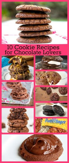 10 Cookie Recipes for Chocolate Lovers - Chocolate-Malted Chip, Chocolate Butterfinger Brownie, Fudgy Pudding Cookies, Chocolate Truffle Cookies and MORE! #cookies #recipes #chocolate