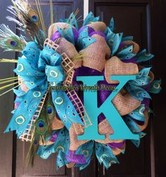 Summer Wreath  Peacock Feathers Purple Mesh Burlap by JennaBelles, $65.00