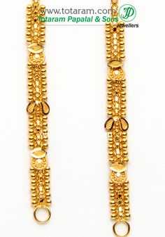 22 Karat Gold Ear Matiz - 1 Pair Gross Gold Weight: grams Length: inches Width: mm Shipping Time: Same or Next Business Day Ruby Necklace Designs, Jewelry Design Earrings, Nose Jewelry, Gold Jewellery Design, Pendant Jewelry, Diamond Jewelry, Ear Chain, Gold Mangalsutra Designs, Gold Drop Earrings