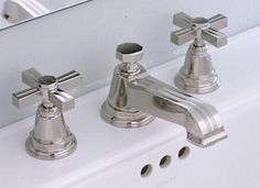 An accomplished beauty from Kohler, the two flat cross handles Pinstripe faucet is a mixture of Classic Traditional and Modern design styles. Bathroom Renos, Kohler Bathroom Faucet, Powder Room, Black Sink, Bathroom Faucets, Polished Nickel, Tiny Bathroom, Bathrooms Remodel, Kohler