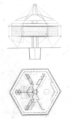 The first Dymaxion House design, or 4D house 1927