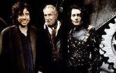 Tim Burton, Vincent Price e Johnny Depp nos bastidores de Edward Mãos de Tesoura - 1990