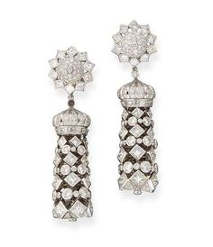 A PAIR OF DIAMOND EAR PENDANTS, BY GRAFF  Each designed as a detachable tassel of graduated princess and brilliant-cut diamonds with crown-shaped cap, to the diamond star-shaped surmoun