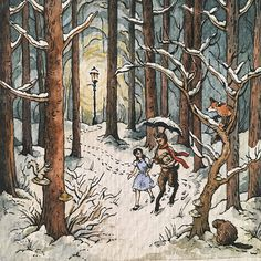 Lucy and Mr. Tumnus in Narnia Painting