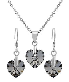 Another great find on #zulily! Gray Swarovski® Crystal Heart Necklace & Earrings #zulilyfinds