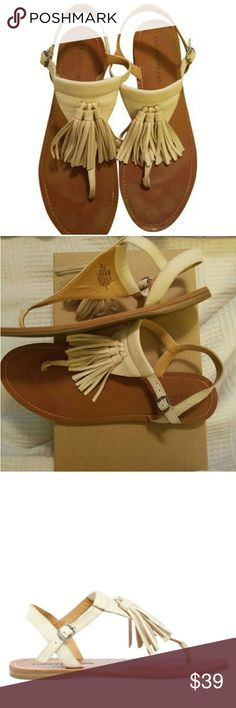 Lucky Brand Tassel Sandals LIKE NEW Bohemian inspired tassel fringe sandals. Worn couple times, slight creases otherwise like new condition. EUC. Off white cream beige ivory wheat.  Nubuck leather Linen color Adjustable ankle strap Rubber sole Imported   FREE shipping  + 20% off bundles. Lucky Brand Shoes Sandals