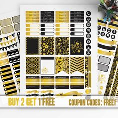 Black - Gold Planner Stickers Printable, Erin Condren Sticker, Monthly/Weekly  Kit, Printable Sampler, Erin Condren kit, Instant download