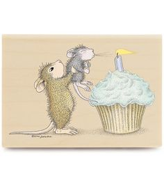 Stampabilities House Mouse Rubber Stamp - Make A Wish