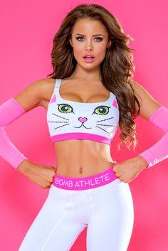7b806f497a1f9 Meow Sports Bra - White Fashion Games