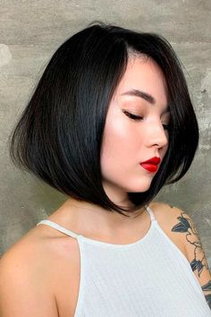 Brunette Long Bob Hairstyles For Thick Hair ❤ Short hairstyles for thick hair don't have to be boring. A cute hairstyle like the ones pictured here can help add texture and life to your thick tresses. #shorthairstylesforthickhair #lovehairstyles #hair #hairstyles #haircuts