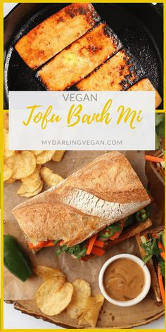 Bite into this meaty and perfectly flavored Tofu Banh Mi with quick pickled carrots and cucumbers and topped with creamy Bánh Mî sauce. Vegetarian Vietnamese, Vegan Vegetarian, Vegan Meals, Tofu Recipes, Cooking Recipes, Pickled Carrots, Veggie Tales, Healthy Cooking, Good Food