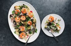RADISH AND FENNEL SALAD WITH BRUSSELS SPROUTS AND SHRIMP