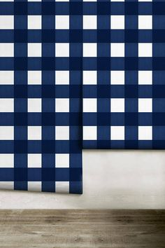 Small Buffalo Check inch) // Bright Navy Removable Peel 'n Stick Wallpaper Small Bathroom Plans, Peel N Stick Wallpaper, Beach Bathrooms, Pattern Names, Buffalo Check, Easy Install, In The Heights, Paint Colors, Bright