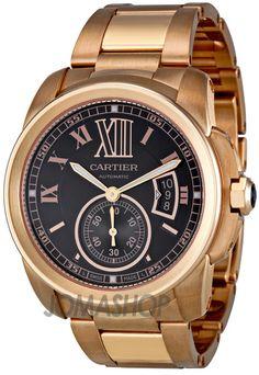 Cartier Calibre de Cartier Brown Dial 18kt Rose Gold Mens Watch W7100040