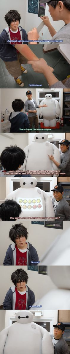 Big Hero 6: How would you rate your pain? by behindinfinity on DeviantArt.  Real life Big Hero 6! :) Check out the artist's page too, there's lots of other cool stuff on there!