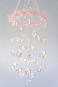 Pink Butterfly Nursery Mobile 3D  Shimmery by LoveBugLullabies, $54.00