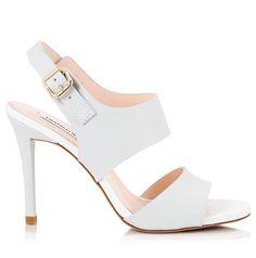 8d7107bfd46 Fratelli Karida Light grey   white leather stiletto heel sling-back sandals