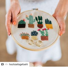 This cacti hoop I call the 7 Amigos went on a field trip all the way to Germany for a wedding photo shoot to be used as a ring kissen! This hoop is available in my shop! I also welcome custom orders.