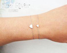Mother daughter heart bracelets. Choose rose gold silver or