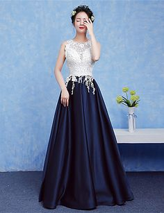 Formal Evening Dress A-line V-neck Floor-length Lace with Beading 5347377 2017 – $79.99