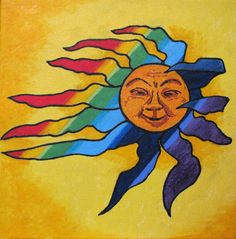 With the sun you'll see a rainbow - SOLD Sun Illustration, Celestial Art, Moon Art, Sun Painting, Happy Sun, Original Fine Art, Sun Art, Art, Pictures Of The Sun