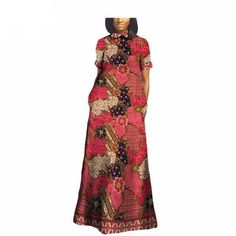Gender: Women Estimated Delivery Style: Bohemian Sleeve Length(cm): Short Material: Cotton Dresses Length: Floor-Length Silhouette: Pleated Neckline: O-Neck Pattern Type: Print Waistline: Natural Color: 16 Material: Cotton Lining: No African American Fashion, African Print Fashion, Africa Fashion, African Attire, African Wear, African Women, African Style, African Print Dresses, African Fashion Dresses