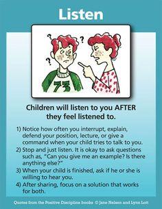 positive discipline parenting: listening tool card.
