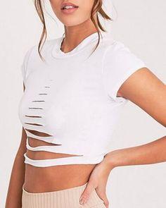 Sexy cut out crop top for women plain black ripped t shirts short style Plain White T Shirt, Plain Black, Cropped Tops, T Shirt Fitness, Shirts With Holes, Mode Shorts, Hip Hop, Summer Tops, Fit Women
