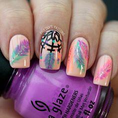 Nail art cute original uñas pluma colores