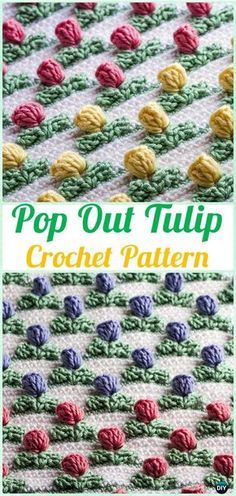 Crochet Pop Out Tulip Stitch Pattern - Crochet Flower Stitch Free Patterns