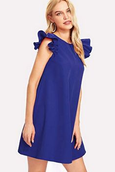 SheIn Casual A Line Plain Shift Trapeze Round Neck Sleeveless Natural Blue Short Length Button Keyhole Back Ruffle Shoulder Swing Dress Stylish Dresses, Nice Dresses, Fashion Dresses, Casual Dresses, Red Dress Run, New Dress, Ruffle Trim, Ruffle Dress, Swing Dress