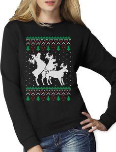 Funny Ugly Christmas Sweater Party Humping Reindeer Women Sweatshirt Gift