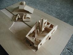 """This is a model of Robert Venturi's """"Mother's House"""", I built this for my architecture class using bass wood at a 1/8""""=1'0 scale."""