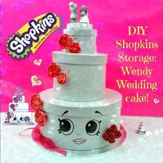 DIY Shopkins Season 3 Storage Wendy Wedding Cake! Shopkins tutorial, homemade Shopkins Toy Craft