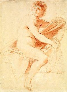 Giovanni Francesco Barbieri, il Guercino (Cento 1591 - Bologna 1666) A seated man holding a cloak  red chalk  298 x 223 mm
