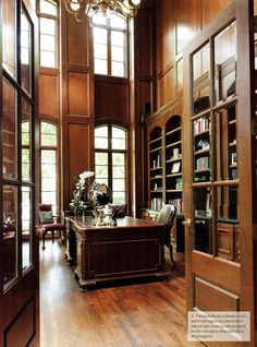 Home office decor is a very important thing that you have to make percfectly in your house. You need to make your home office decor ideas become a very awe Home Library Design, Home Office Design, Home Office Decor, House Design, Study Office, Office Note, Men Office, Office Ideas, Home Libraries