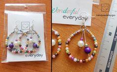 Orecchini perline multicolore viola fatti a mano /bead earrings handmadebygio
