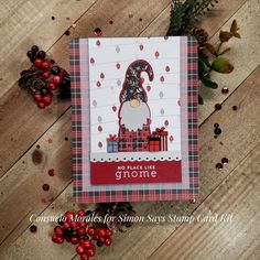 It feels like only a few days but it's been a few weeks since I posted a card 😮😮😮Life, work and family have been very consuming and… Christmas Cards 2018, Xmas Cards, Holiday Cards, Card Kit, I Card, Stamp Card, Christmas Gnome, Handmade Christmas, Winter Karten