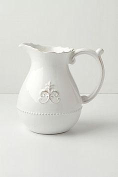 Fleur De Lys Pitcher by Anthropologie in White Size: Pitcher Serveware from Anthropologie. Saved to Dream House. Pretty Things, White Dishes, White Pitchers, White Plates, Shades Of White, French Country Decorating, Serveware, Home Accessories, Tea Pots