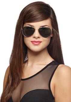 Get an A for Aviator Sunglasses - Black, Gold, Solid, Trim, Good, Beach/Resort, Summer, Nautical, Festival, Top Rated, Boho, Press Placement, 70s, Party